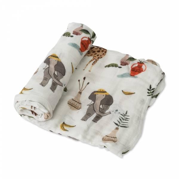 竹纖維紗布巾 單入(動物園) 美國Little Unicorn,竹纖維,包巾,哺乳巾,浴巾,多功能,易洗快乾,抗菌抑菌,除臭