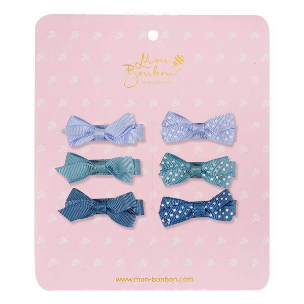 Mon Bonbon經典蝴蝶結髮夾六入組(藍點點-小)