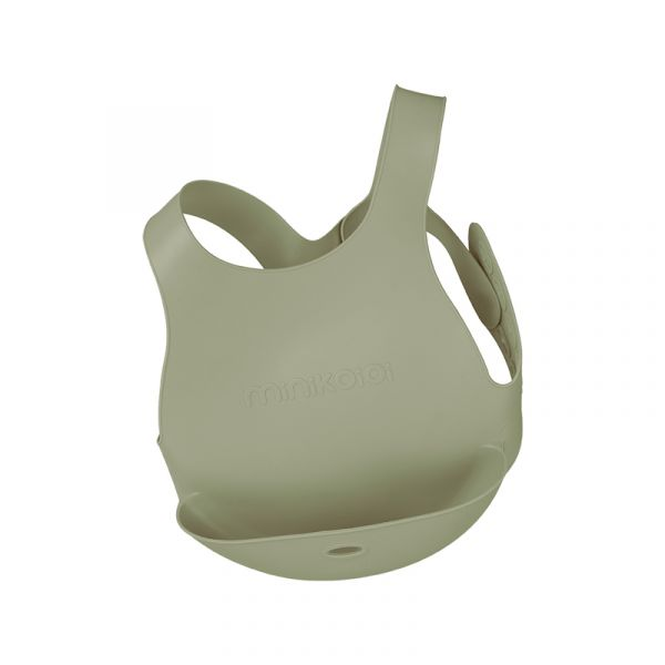 X型立體矽膠圍兜-抹茶綠 土耳其minikoioi,矽膠圍兜,背心圍兜,口袋圍兜,耐熱達200度C,食品級矽膠,嬰幼兒餐具