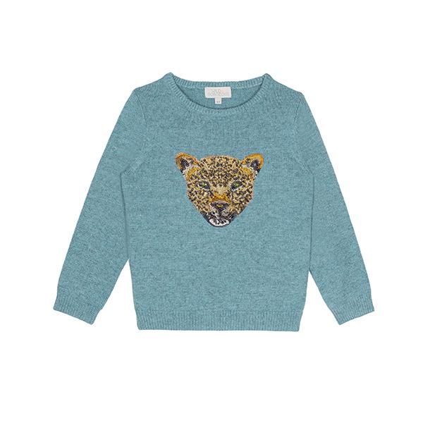 時尚豹紋亮片針織衫