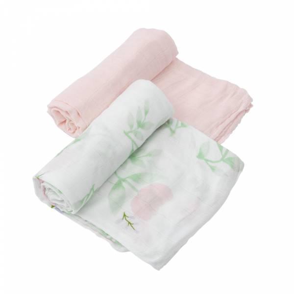 竹纖維紗布巾 兩入組(牡丹花香) 美國Little Unicorn,竹纖維,包巾,哺乳巾,浴巾,多功能,易洗快乾,抗菌抑菌,除臭
