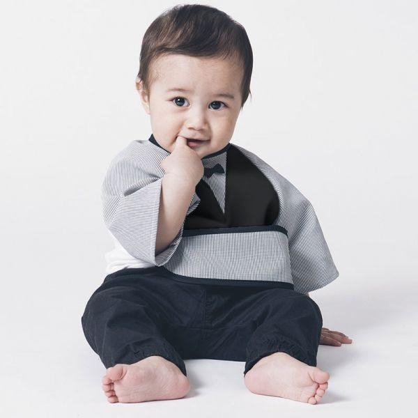 可愛造型圍兜/口水巾(餐桌小紳士黑) 嬰兒圍兜,防潑水,七分袖,吃飯,日本製