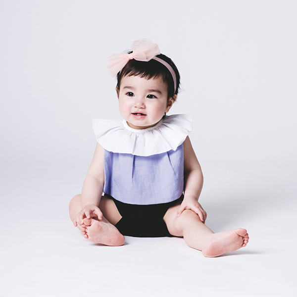 可愛造型圍兜/口水巾(知性小荷領紫)