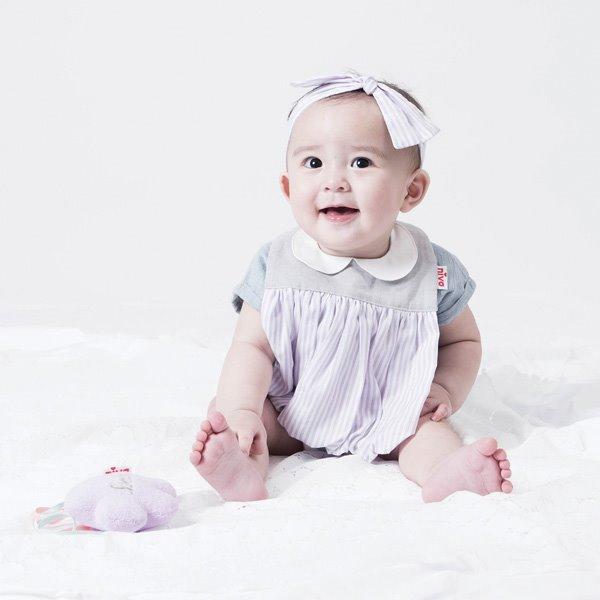 可愛造型圍兜/口水巾(條紋小淑女)