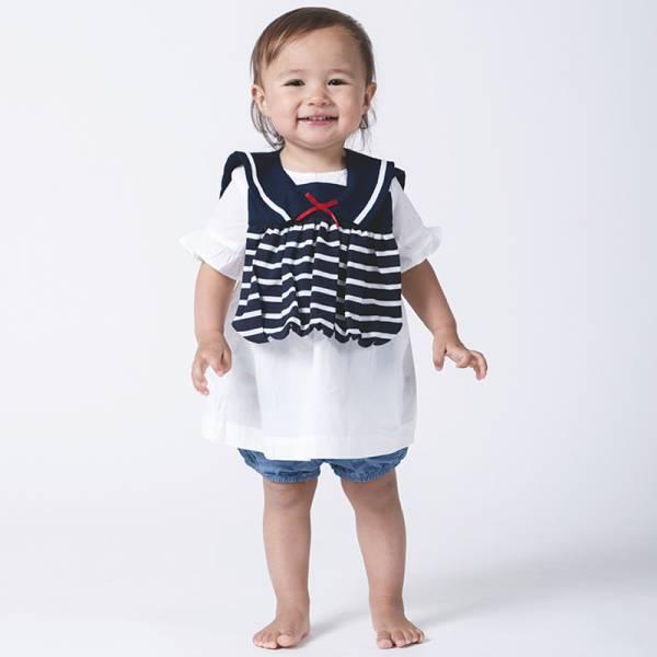 可愛造型圍兜/口水巾(條紋小水手藍) 圍兜,口水巾,純棉,日本製,造型,送禮自用