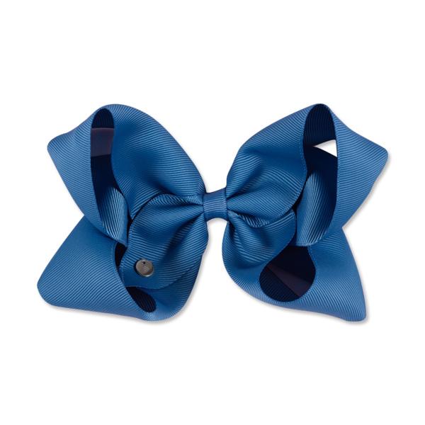 Mon Bonbon經典蝴蝶結髮夾(古董藍-特大)