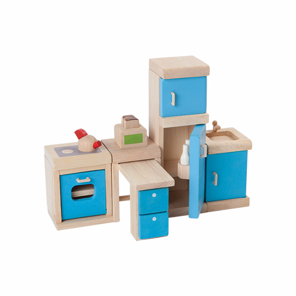 典藏娃娃屋-廚房 泰國,天然橡膠木,木製娃娃屋家具,扮家家酒