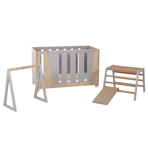 Woodpecker β多功能成長床+感統組合(燕麥灰) OUAT,嬰兒床,幼兒床,遊戲成長床,床邊床,書桌,感統組合,台灣製