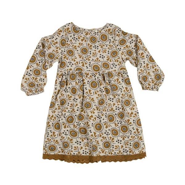 復古印花洋裝
