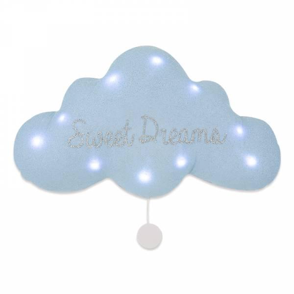 法式雲朵音樂夜燈(甜蜜美夢-銀藍) 法國製,床邊吊飾,雲朵燈,音樂鈴,安撫,送禮首選,彌月禮