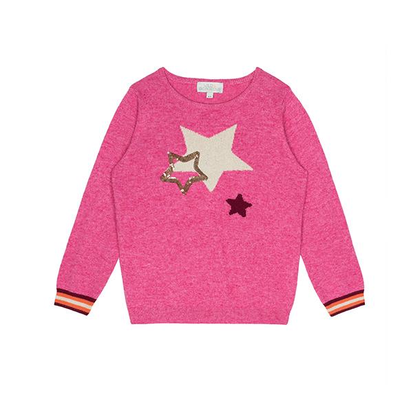 跳嵌星星條紋袖針織衫