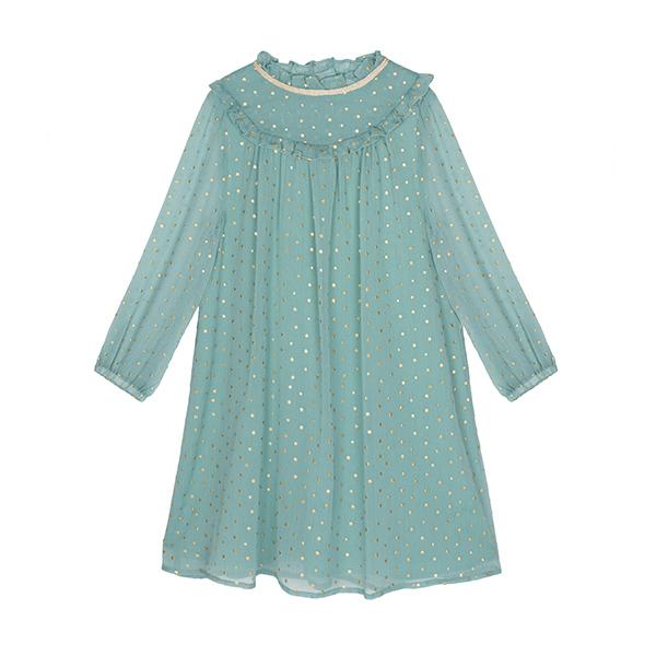 亮星雪紡荷葉連衣裙(晶綠)