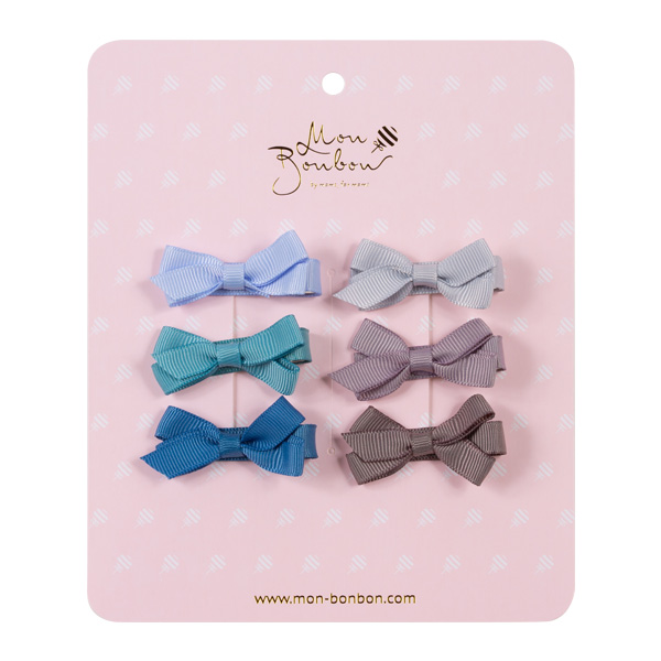Mon Bonbon經典蝴蝶結髮夾六入組(淡漠藍-小)