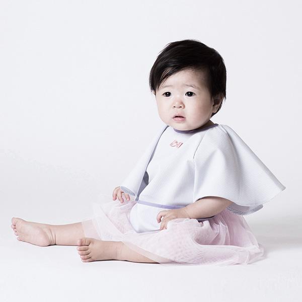 可愛造型圍兜/口水巾(餐桌小淑女紫) 嬰兒圍兜,防潑水,蝴蝶袖,吃飯,日本製