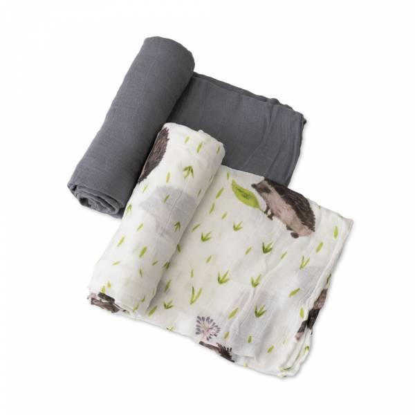 竹纖維紗布巾 兩入組(鐵甲刺蝟) 美國Little Unicorn,竹纖維,包巾,哺乳巾,浴巾,多功能,易洗快乾,抗菌抑菌,除臭