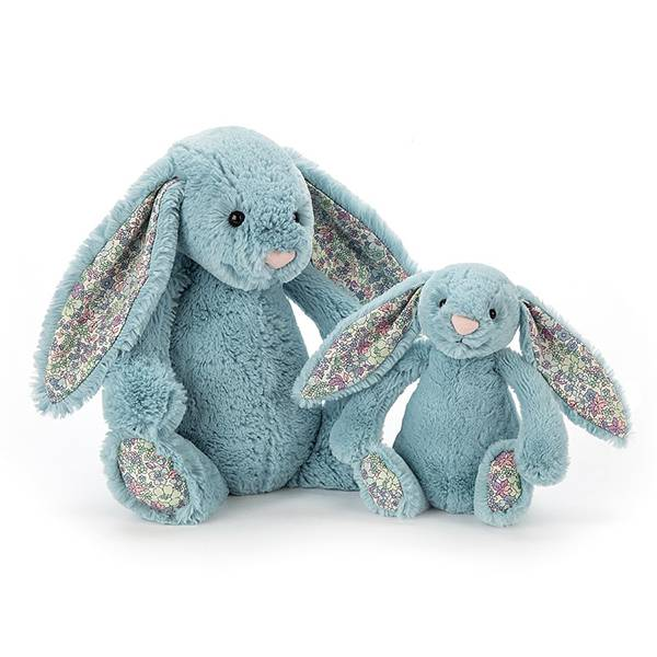 Blossom Aqua Bunny 碎花水藍兔(31cm) jellycat,Bashful Bunny,碎花兔,英國絨毛玩偶,送禮推薦,媽媽必敗,好萊塢明星,寶寶第一個好朋友