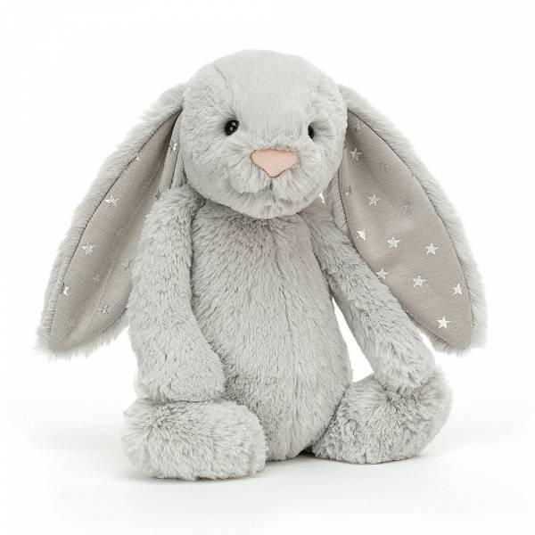 Bashful Shimmer Bunny 微光灰星星兔(31cm) jellycat,Bashful Bunny,兔子,英國絨毛玩偶,送禮推薦,媽媽必敗,好萊塢明星,寶寶第一個好朋友