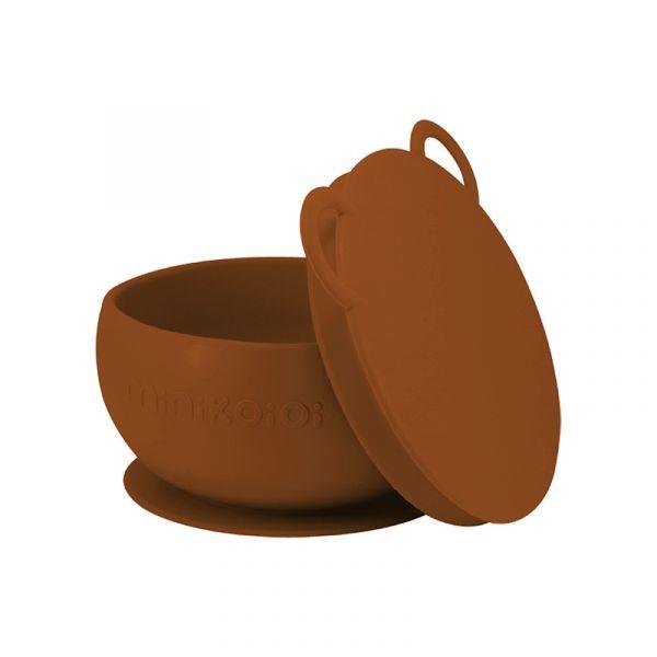 防滑矽膠餐碗-焦糖棕 土耳其minikoioi,矽膠餐碗,訓練獨立進食,防漏不怕摔,耐熱達200度C,食品級矽膠,嬰幼兒餐具