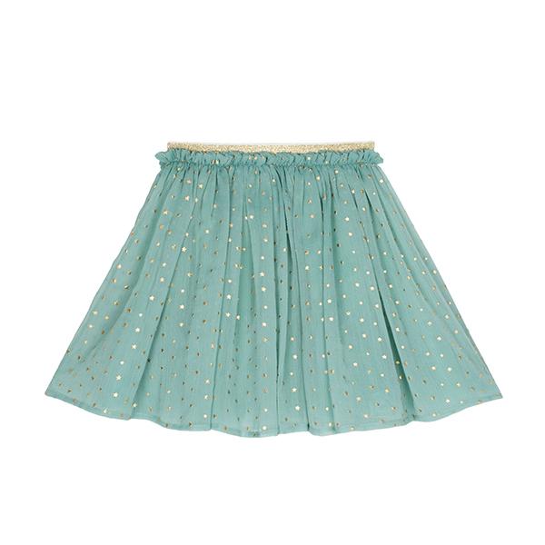 滿佈星星印花褶皺短裙(晶綠)