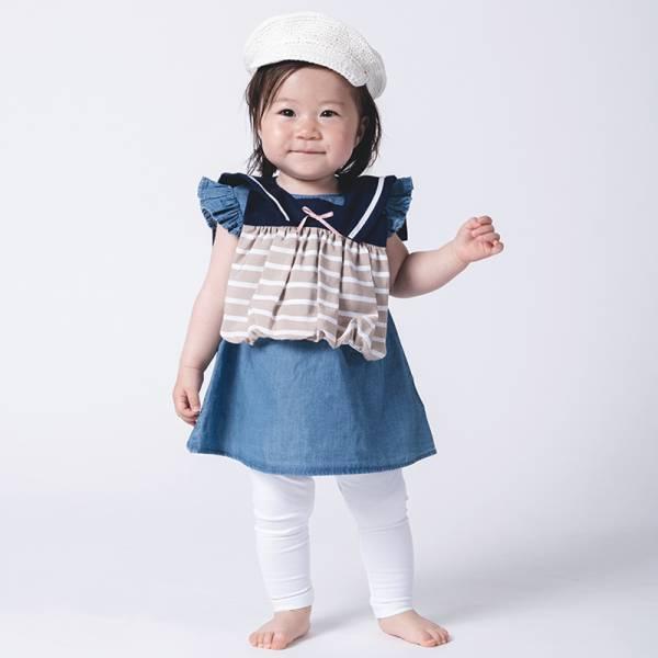 可愛造型圍兜/口水巾(條紋小水手褐) 圍兜,口水巾,純棉,日本製,造型,送禮自用