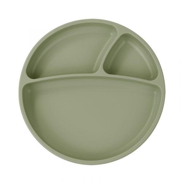 防滑矽膠餐盤-抹茶綠 土耳其minikoioi,矽膠餐盤,分隔餐盤,訓練獨立進食,耐熱達200度C,食品級矽膠,嬰幼兒餐具