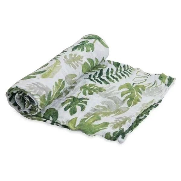 純棉紗布巾 單入(熱帶植物) 美國Little Unicorn,純棉,包巾,哺乳巾,浴巾,多功能,易洗快乾