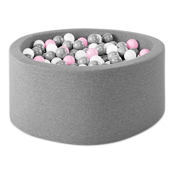 波蘭遊戲球池-90x40(淺灰) 共3種組合球色可選 波蘭Misioo,遊戲球池,感官刺激,歐盟認證