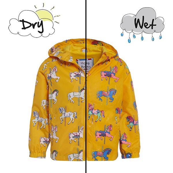 英國變色雨衣(黃色木馬) 英國Holly and Beau,神奇變色雨衣,防風防水,外套