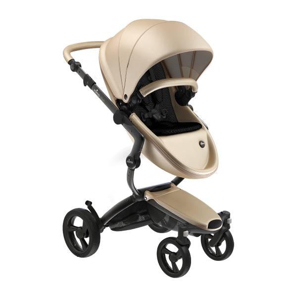 xari 頂級嬰兒推車-流光金(車架:曜石黑/皓月銀) 西班牙mima,xari頂級嬰兒推車,戰車型推車,環保皮革面料,2in1內置提籃,氣壓式踏板煞車