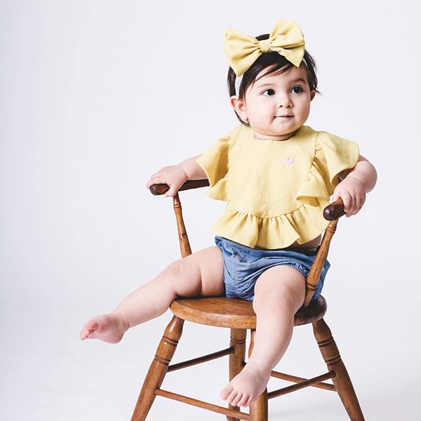 可愛造型圍兜/口水巾(甜心女孩黃)