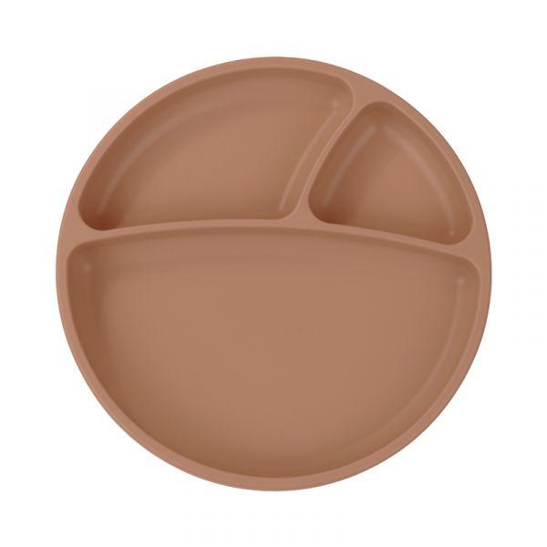 防滑矽膠餐盤-奶茶杏 土耳其minikoioi,矽膠餐盤,分隔餐盤,訓練獨立進食,耐熱達200度C,食品級矽膠,嬰幼兒餐具
