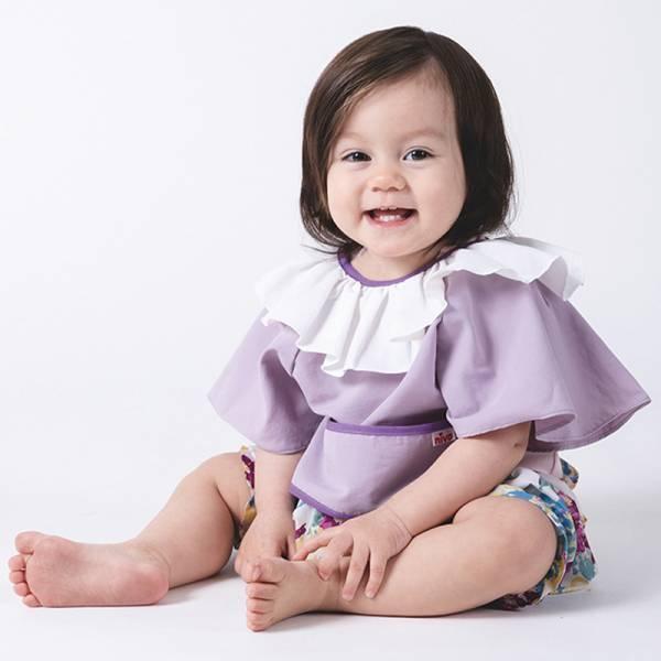 可愛造型圍兜/口水巾(午茶小淑女紫)
