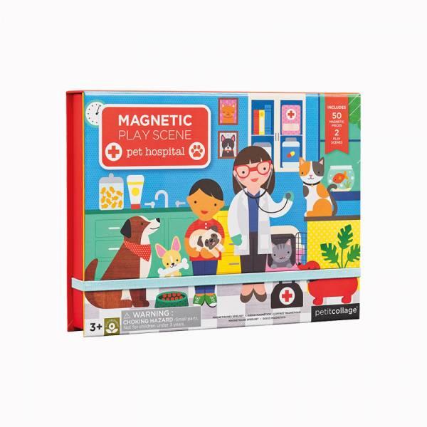 磁鐵場景遊戲盒-寵物醫院 美國Petit Collage,磁鐵,創造力,想像力,手眼協調