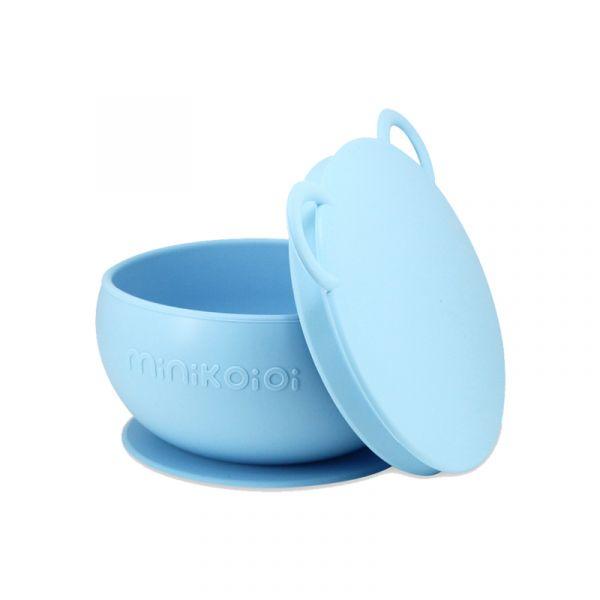 防滑矽膠餐碗-天空藍 土耳其minikoioi,矽膠餐碗,訓練獨立進食,防漏不怕摔,耐熱達200度C,食品級矽膠,嬰幼兒餐具