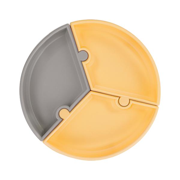 防滑矽膠拼圖餐盤-快樂維尼 土耳其minikoioi,矽膠餐盤,分隔餐盤,訓練獨立進食,耐熱達200度C,食品級矽膠,嬰幼兒餐具