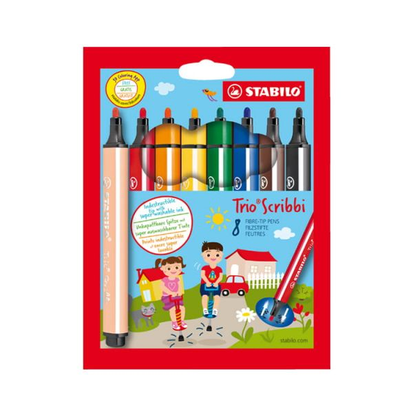 STABILO思筆樂 Trio Scribbi 畫畫樂可水洗彩色筆