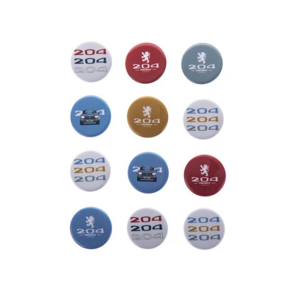 (代購) PEUGEOT LEGEND 系列 204 圓形別針徽章 (全套24入) PEUGEOT, 寶獅