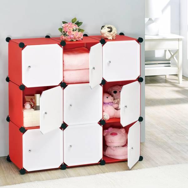 9格魔術方塊+門板(10吋)(紅色身體+白色門)
