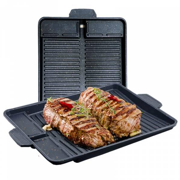 麥飯石韓式不沾瀝油烤盤_2入組韓國 不沾烤肉盤,麥飯石烤肉盤,自動瀝油,無煙烤盤