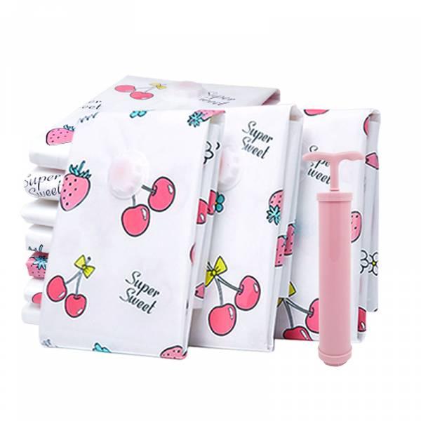 SL犀利人妻甜蜜莓果真空壓縮袋7件組(大2個+中2個+小3個+抽氣筒1支) 真空收納袋,收納,真空袋,棉被收納,衣物收納