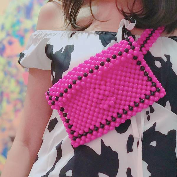 CLEARLY A WINNER BEADED BELT BAG-PINK