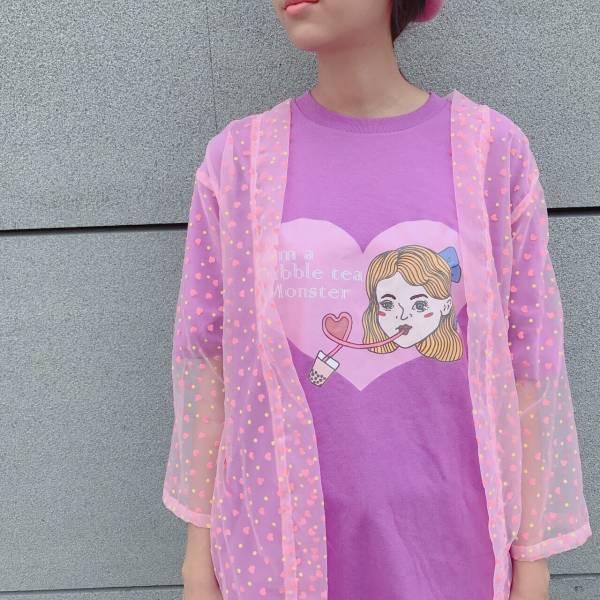 JCC紫色珍珠奶茶少女T