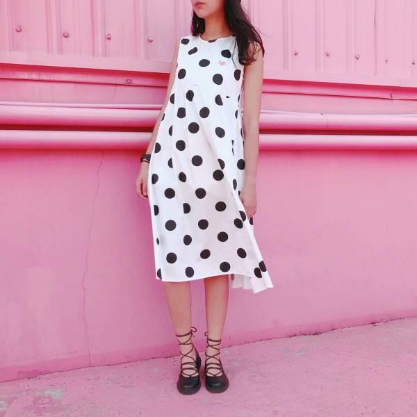 JCC白色圓點背心長款洋裝