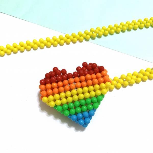 彩虹愛心腰鍊珠珠包