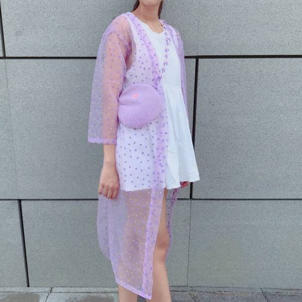 JCC紫色愛心紗長款罩衫