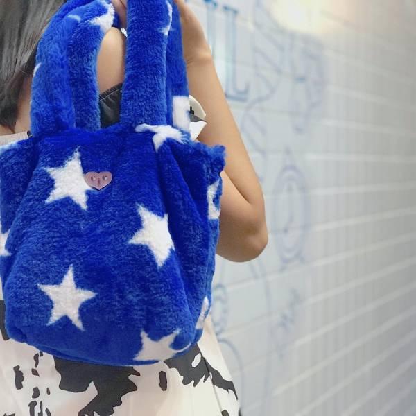 JCC藍色星星仿兔毛手提包 毛毛包 可愛