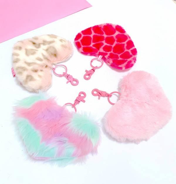 JCC粉紅愛心掛飾小包