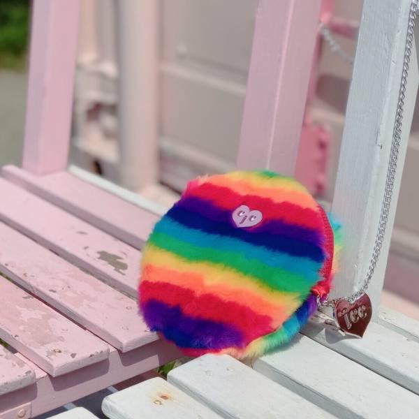 JCC彩虹銀鏈仿兔毛圓圓包