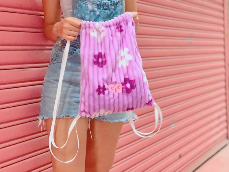 JCC紫色小花絨布束口袋 束口袋