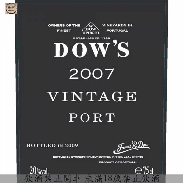 DOW'S VINTAGE PORT PORTO 2007(WS100分) DOW'S,VINTAGE,PORT,2007,波特,百大第一,100分,葡萄牙